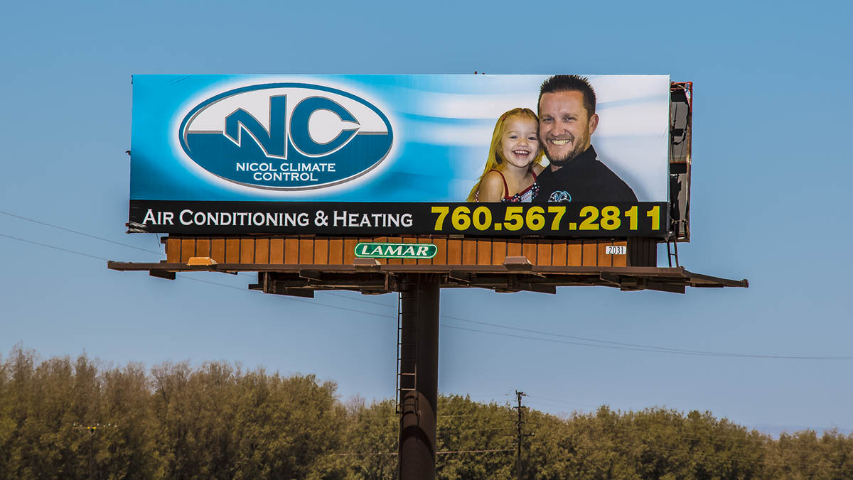Nicol Climate Control / Nicol Construction Billboard in the Coachella Valley on i10 Heading West between Cathedral City & Desert Hot Springs / Palm Springs